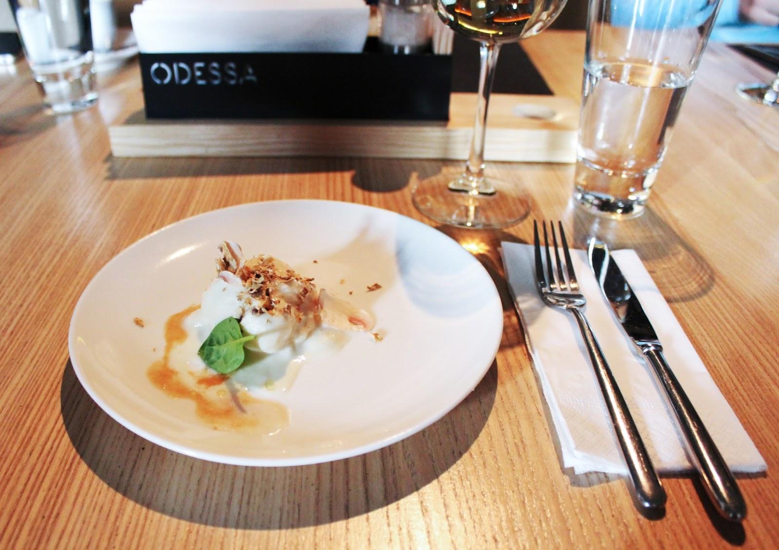 гастрономический сет от Юрия Приемского, Гребешок темпура с сельдереем и трюфелем, ресторан Одесса