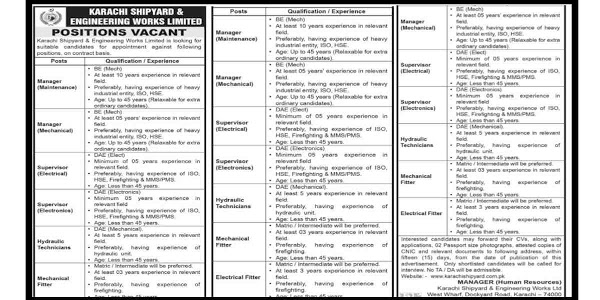 Latest Karachi Shipyard and Engineering Works Limited Jobs 2020 for Supervisor