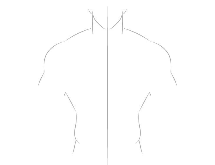 Anime gambar garis tubuh pria berotot