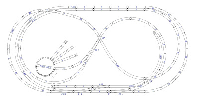 """A final modified figure eight track plan built with Atlas track software that fits on a 4' by 8' table"""""""