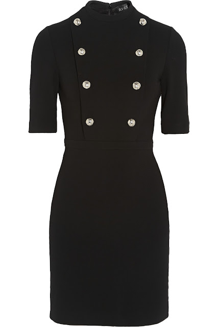 Gucci Stretch Twill Mini Dress - 60s mod-inspired LBD with military buttons