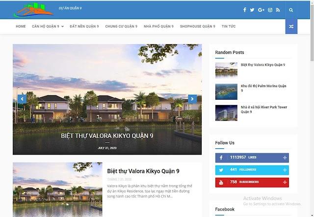 Mẫu website bất động sản dự án quận 9