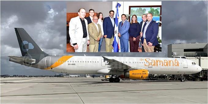 Ejecutivos de nueva línea aérea Sky Cana anuncian rutas a Santo Domingo y Santiago en visita al cónsul Jáquez