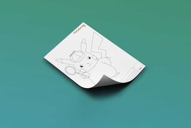Free Printable Anime Detective Pikachu Pokemon Coloriage Outline Blank Coloring Page pdf For Kids Kindergarten Preschool toddler coloring sheets