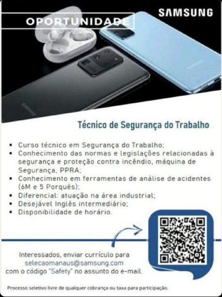 TÉCNICO DE SEGURANÇA DO TRABALHO - SAMSUNG