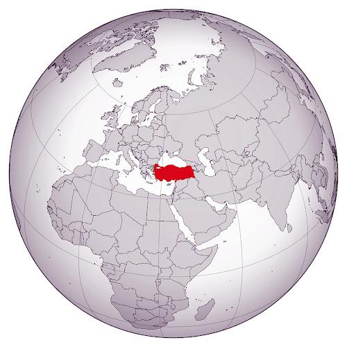 Dünya küresi üzerinde Türkiye'nin kırmızı ile gösterimi