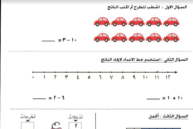 أوراق عمل رياضيات للصف الأول مدرسة لبابة بنت الحارث