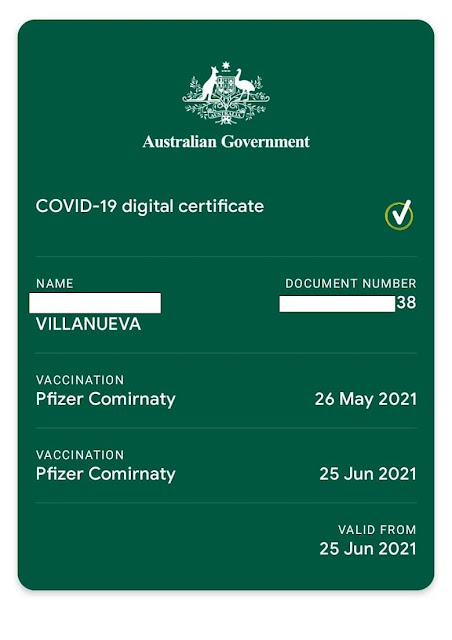 sample of COVID digital vaccine certificate