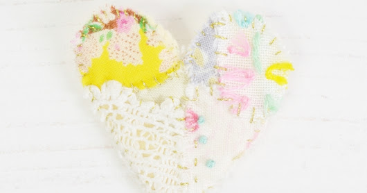 New Patchwork Embroidered Heart Brooches