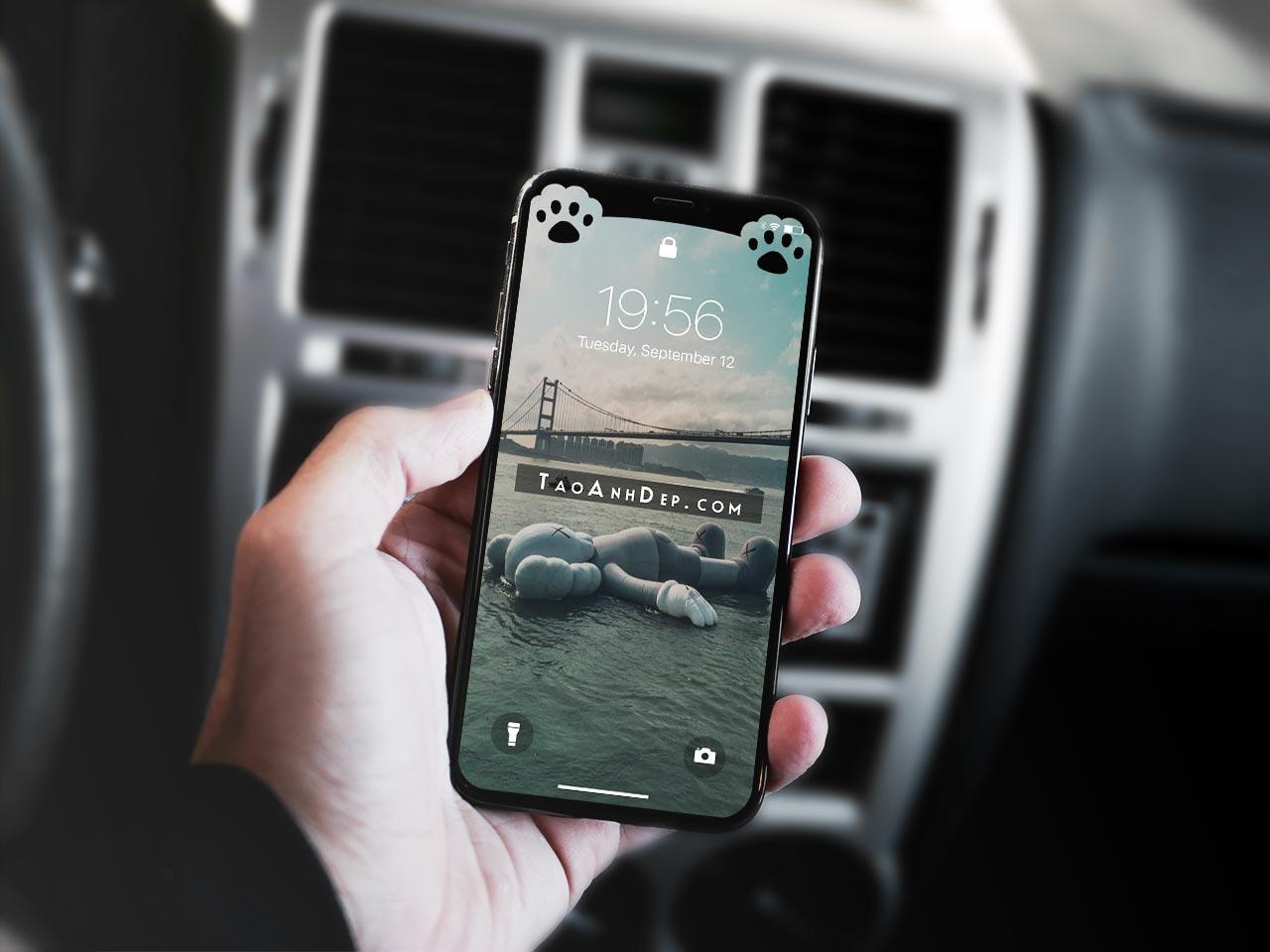 Tạo hình nền ẩn tai thỏ iphone X, Iphone 11