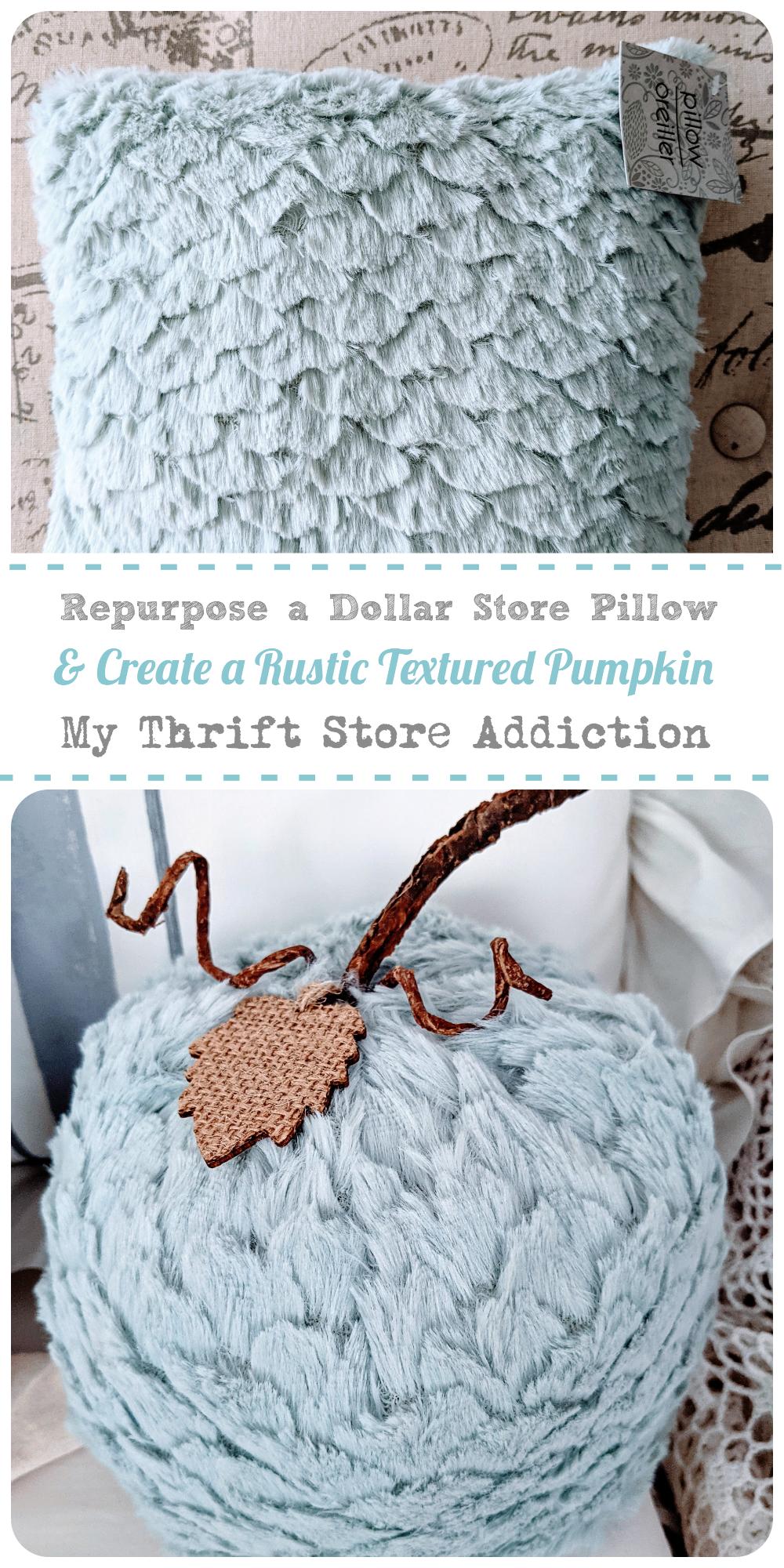 repurposed dollar store pillow pumpkin