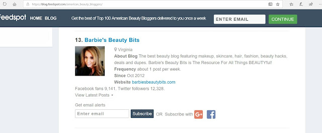 Barbies Beauty Bits Voted #13 Of Top American Beauty Bloggers