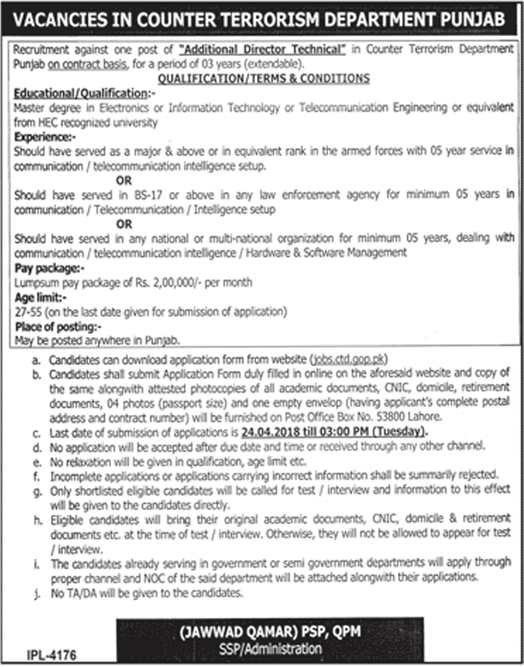 Jobs in Counter Terrorism Department CTD April 2018 Apply Online