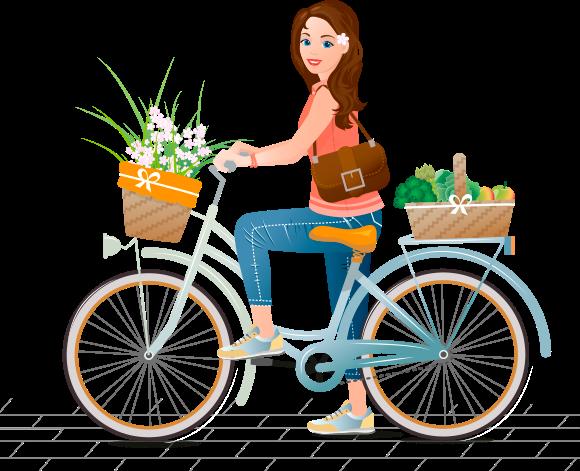Una joven en bicicleta que en su cesta muestra flores, frutas y verduras frescas y de aspecto apetitoso
