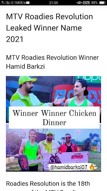 MTV Roadies Revolution Leaked Winner Name 2021