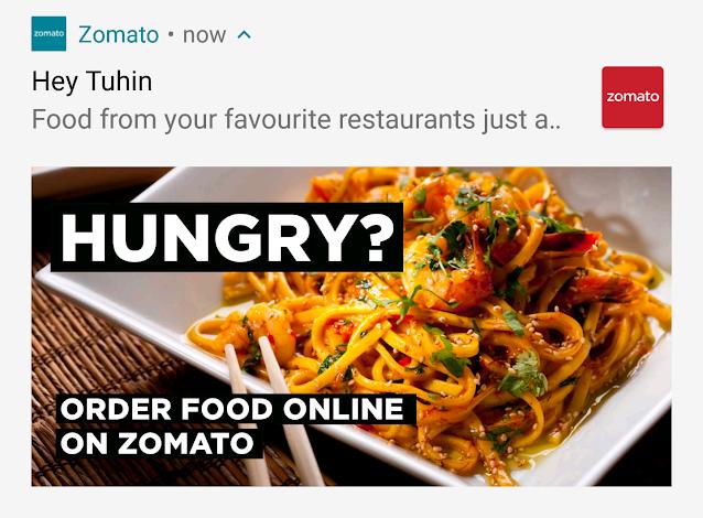 Notification from Zomato