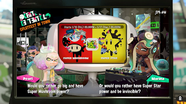 Splatoon 2 Pearl Team Super Mushroom big or Marina Team Super Star invincible