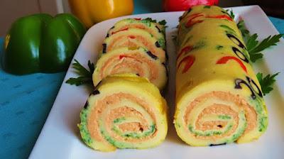 Slani rolat s domaćom paštetom od šunke / Tasty rolls stuffed with homemade ham pate