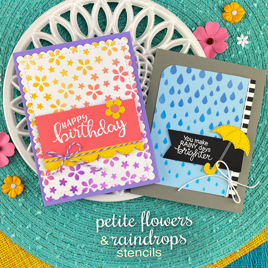 Spring Stenciled Cards by Jennifer Jackson | Raindrops and Petite Flowers Stencils by Newton's Nook Designs #newtonsnook #handmade