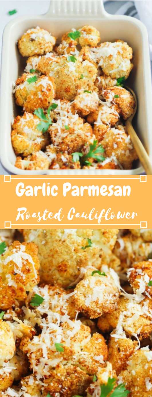 Garlic Parmesan Roasted Cauliflower #vegan #cauliflower #parmesan #vegetarian #mushroom