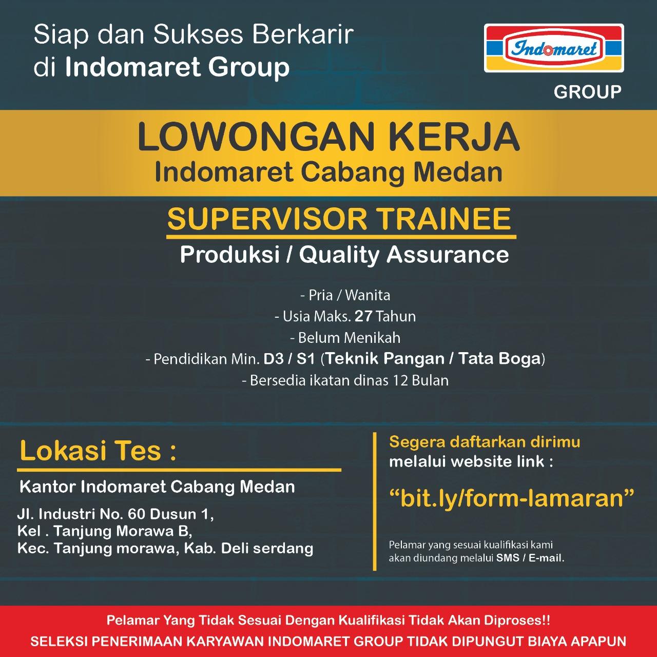 Info Loker Medan Terbaru Januari 2021 Supervisor Di Indomaret Medanloker Com Lowongan Kerja Medan