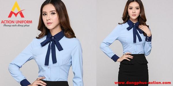 Áo đồng phục công sở nữ màu xanh dương