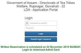 TTWD Assam Admit Card 2019