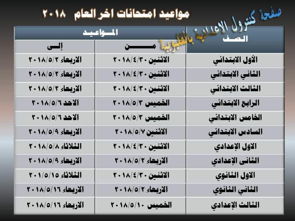 جدول امتحانات محافظة القليوبية 2018