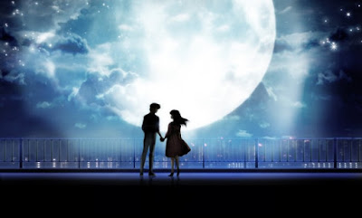 couple holding hands in moonlight