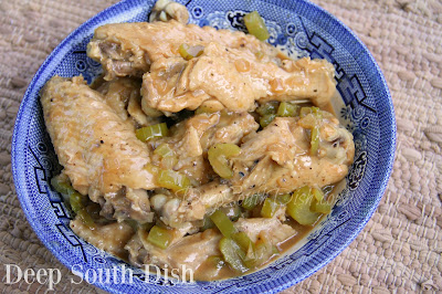 Turkey wings, slow stewed with onion and bell pepper and finished with gravy.