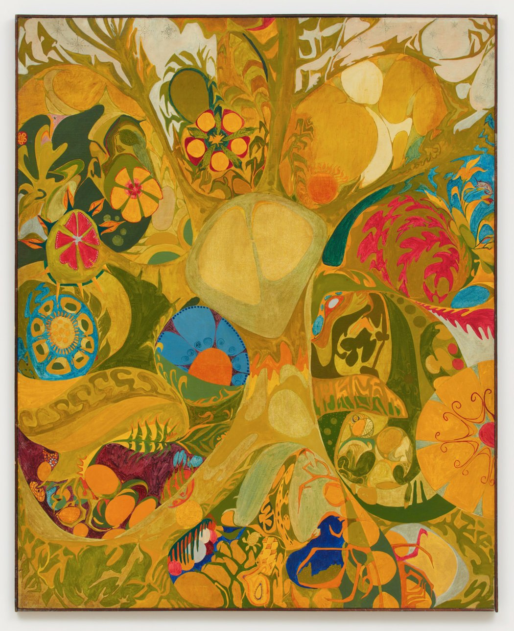 "Isaac Abrams painted the swirling motifs of ""Après Hello Dalí"" (1965),  featured at Galerie Buchholz. The artist operated Coda, a 1960s gallery in  Manhattan ..."
