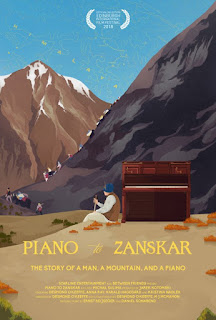 Illustrated poster of a man leaning against a piano in front of mountains