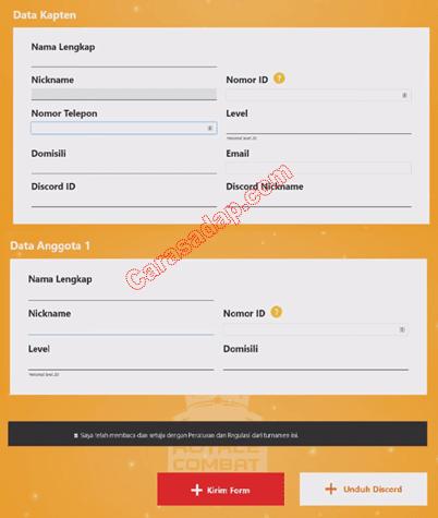 Form Pendaftaran turnamen free fire terbaru