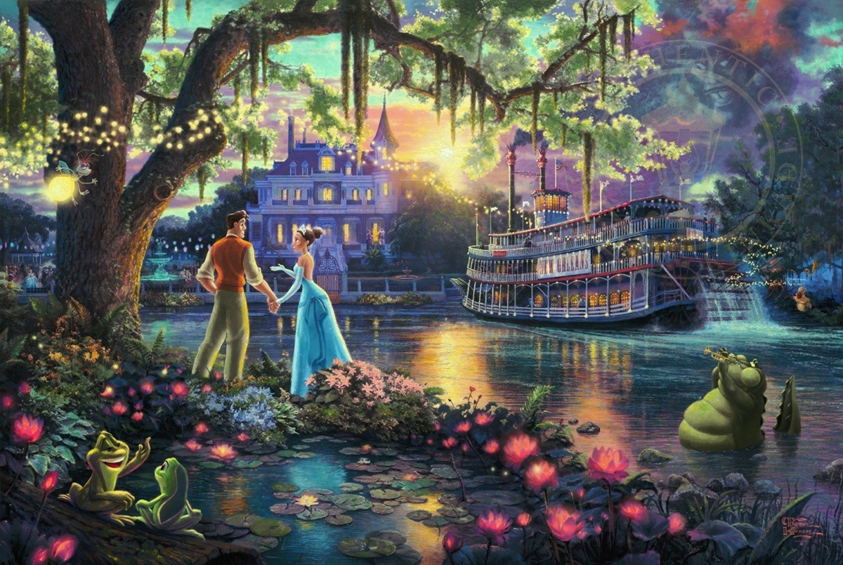 14-The Princess and the Frog-Thomas-Kinkade-Walt-Disney-Stories-Seen-Through-Paintings-www-designstack-co