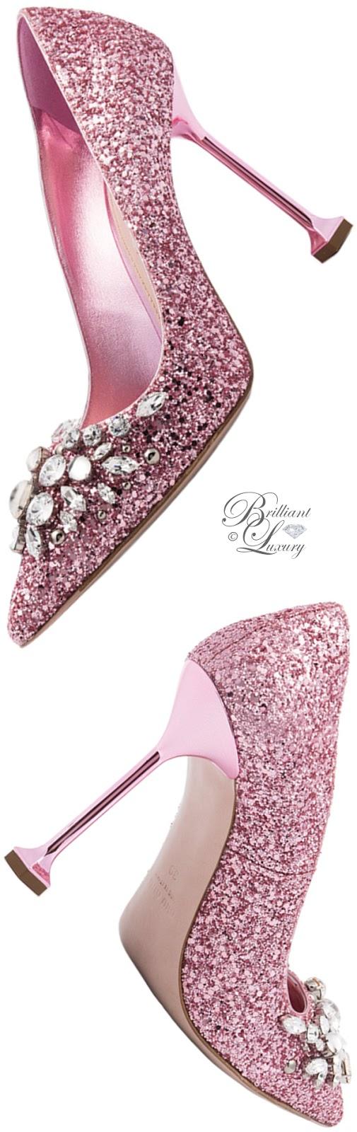 Brilliant Luxury ♦ Miu Miu pink glitter swarowski pumps