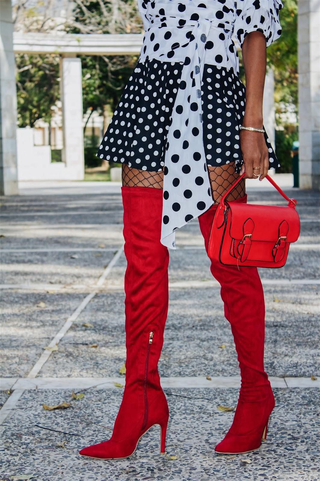 33a54960c48 Shop this BANDAGE LAYERED SLEEVE POLKA DOT BLOUSE and my RED OVER-THE-KNEE  BOOTS from Chicme and more!!!! Happy Shopping!! Thank you for reading!!xoxo
