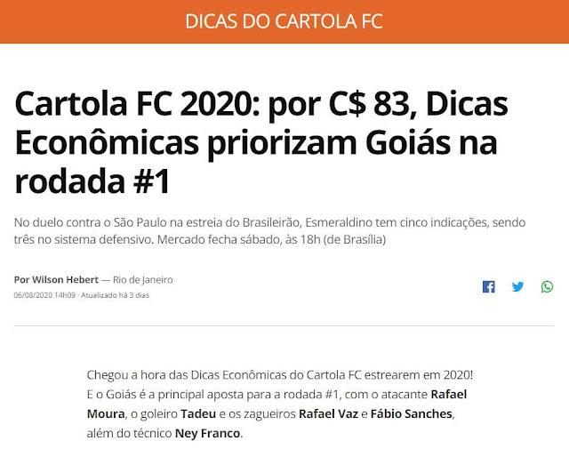 Balanço da Rodada #1 - Cartola FC 2020