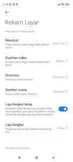 Setting Rekam Layar Hp Xiaomi