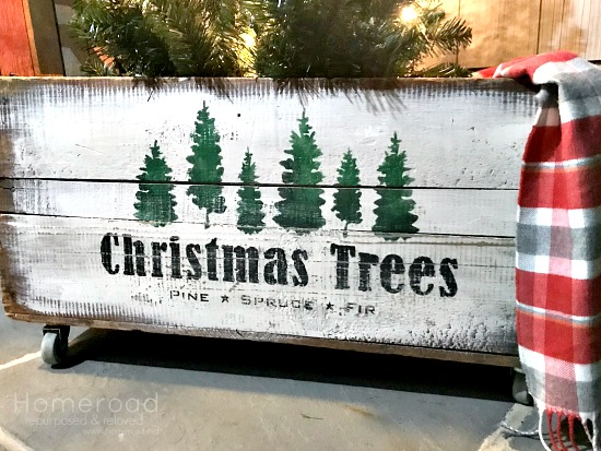 Antique Stenciled Christmas Tree Crate