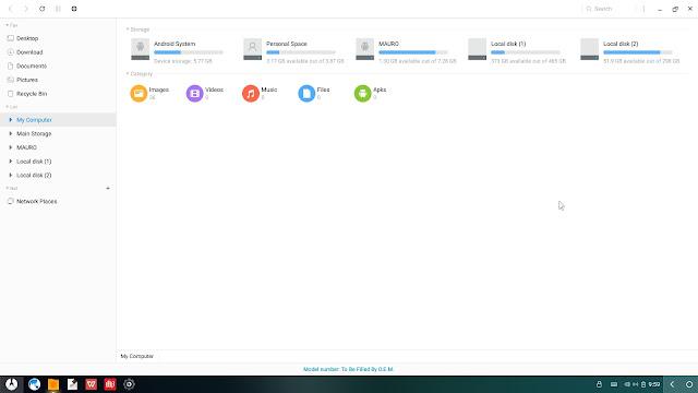 Explorador de archivos y unidades Phoenix OS 2