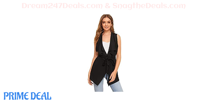 55% OFF Women's Solid Waterfall Collar Wrap Sleeveless Belted Drape Vest