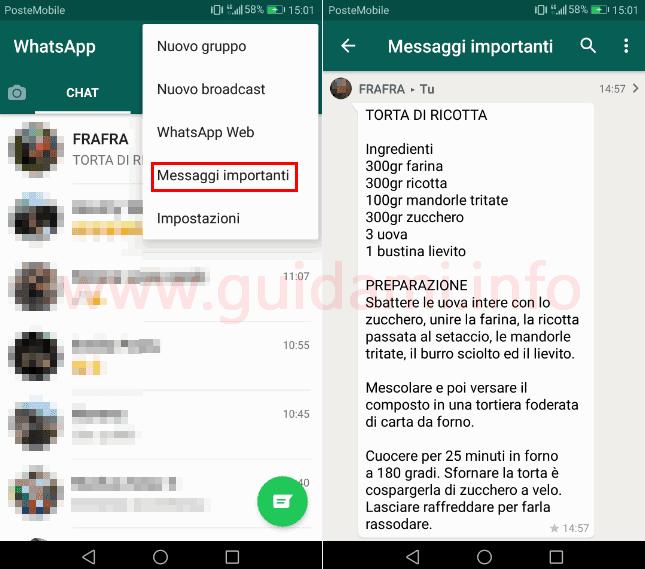 WhatsApp messaggi importanti