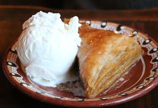 A had baklava with ice cream
