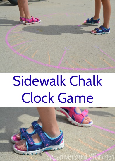 Practice time with this fun sidewalk chalk clock game. Get outside, get moving, and learn math!