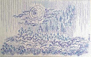 Blue tone drawing by Staedtler Triplus fineliner 4