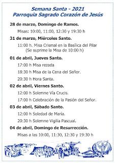 Horario de celebraciones en Semana Santa