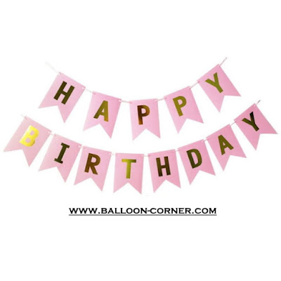 Bunting Flag Segilima HAPPY BIRTHDAY Huruf Hot Print Emas Warna Pink