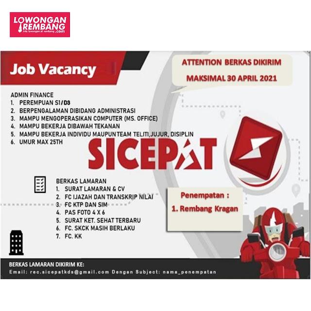 Lowongan Kerja Admin Finance Ekpedisi Sicepat Rembang Kragan