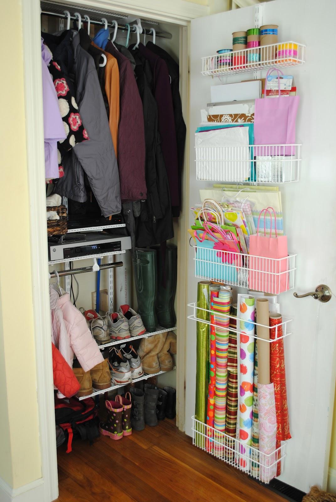 Coat closet and wrapping paper organization - Small closet storage ideas ...