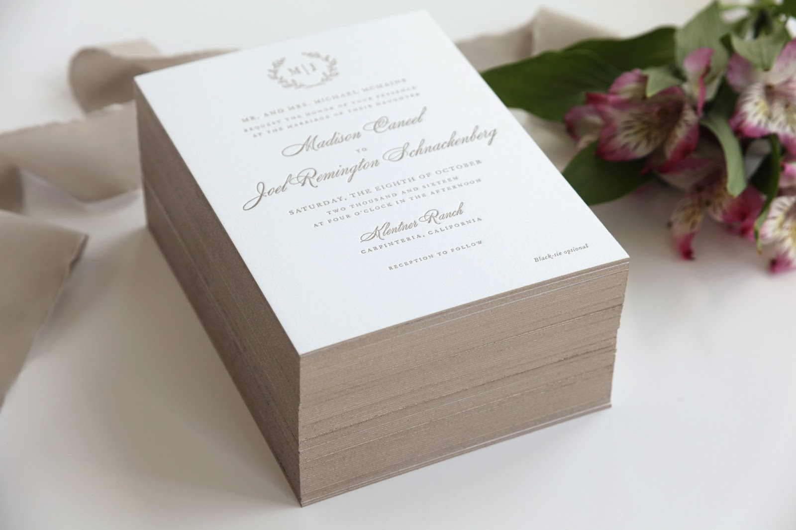 Letterpress Invitations with Edge Painting | Sweetly Said Press